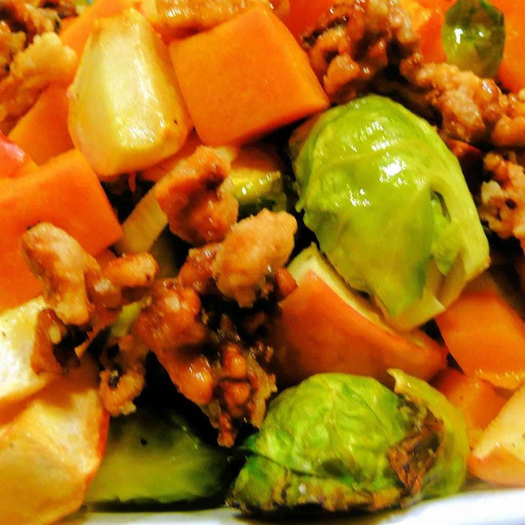Vegan Roasted Brussels Sprouts, Butternut Squash and Apple with Candied Walnuts
