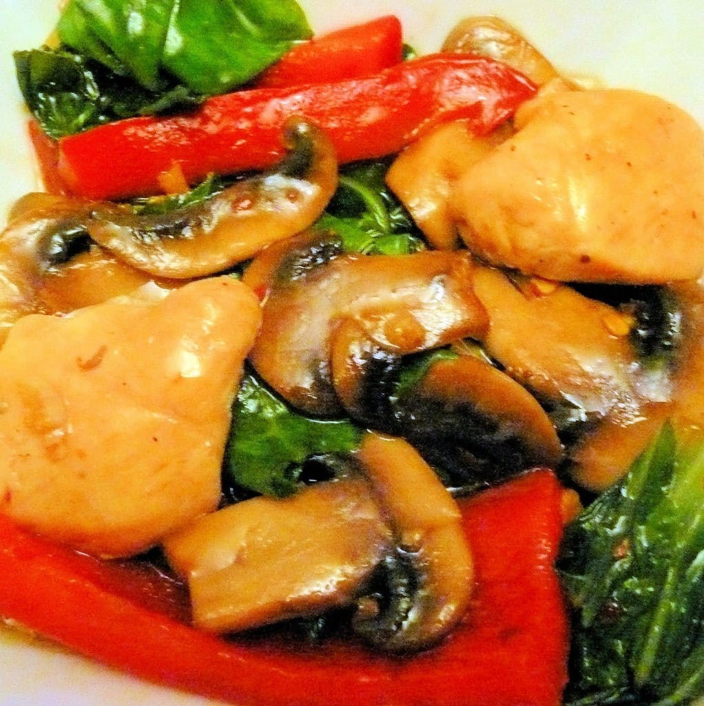 Ginger-Sesame Chicken with Bok Choy and Mushrooms