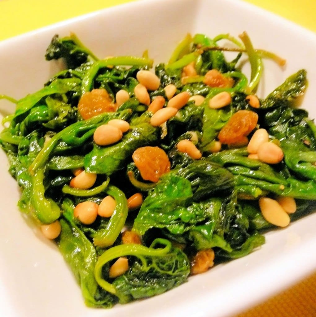 Spinach with Pine Nuts and Golden Raisins