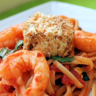 Shrimp, Tomato & Basil Linguine with Warm Goat Cheese Rounds