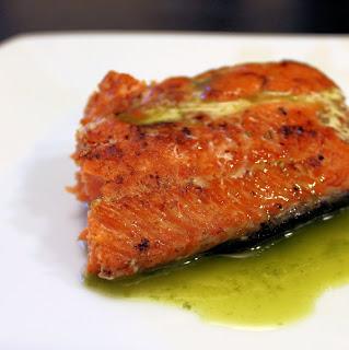 Seared Salmon with Basil Oil