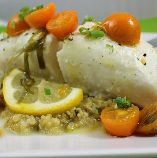 Oven-Roasted Halibut with Quinoa and Warm Tomato Vinaigrette