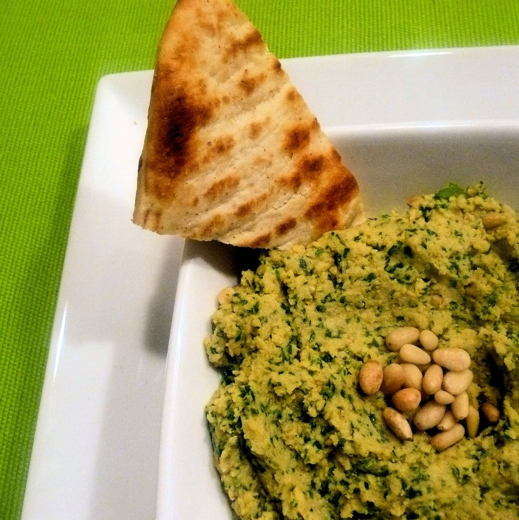 Parsley Hummus with Toasted Pine Nuts & Pita