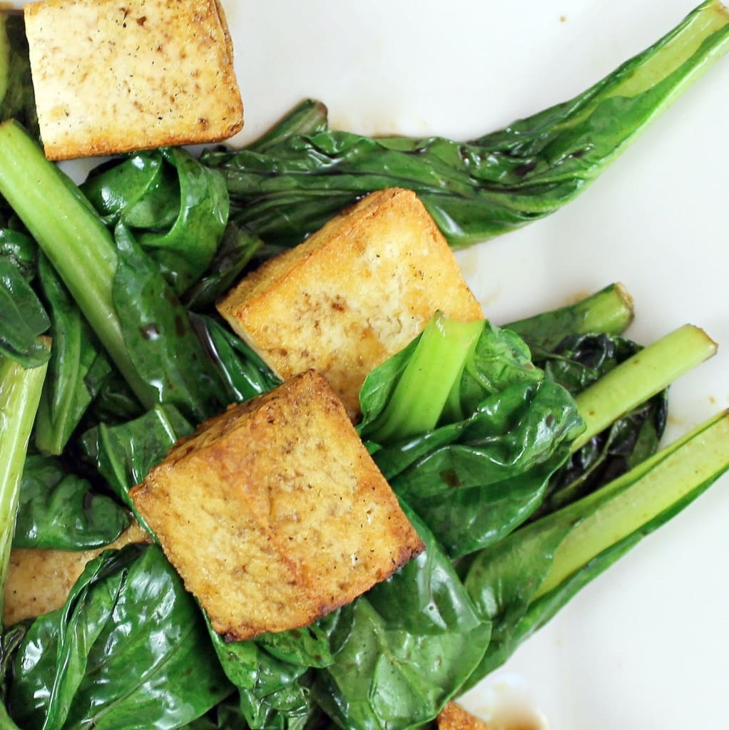 Wilted Tatsoi with Sauteed Tofu