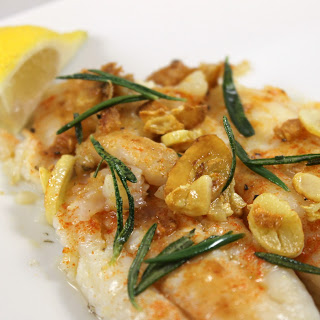 Pan-Seared Flounder with Fried Rosemary & Garlic