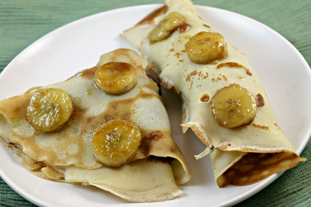 Peanut Butter Cookie Dough-Filled Crepes with Bananas