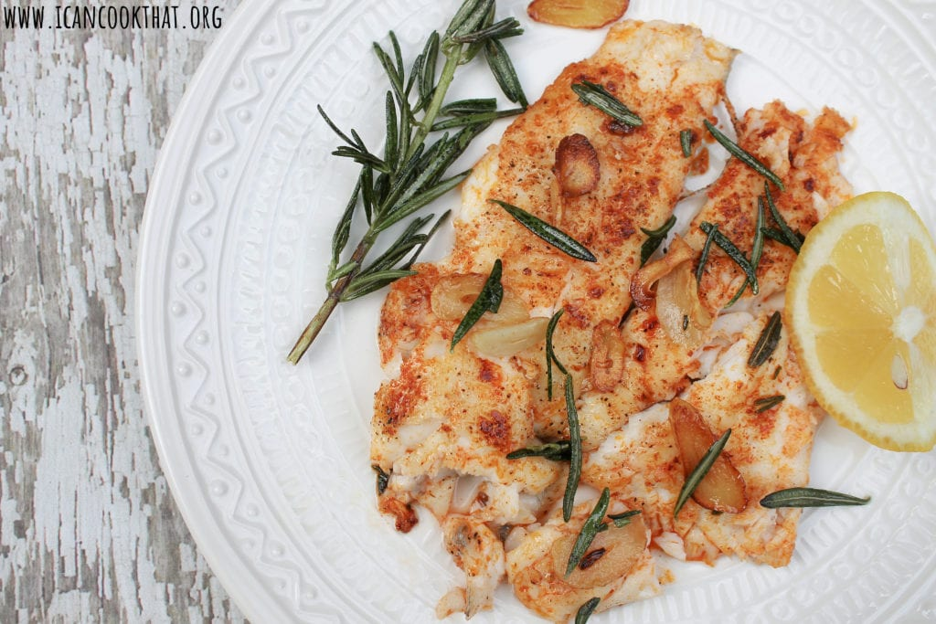 Pan Seared Flounder with Fried Rosemary and Garlic