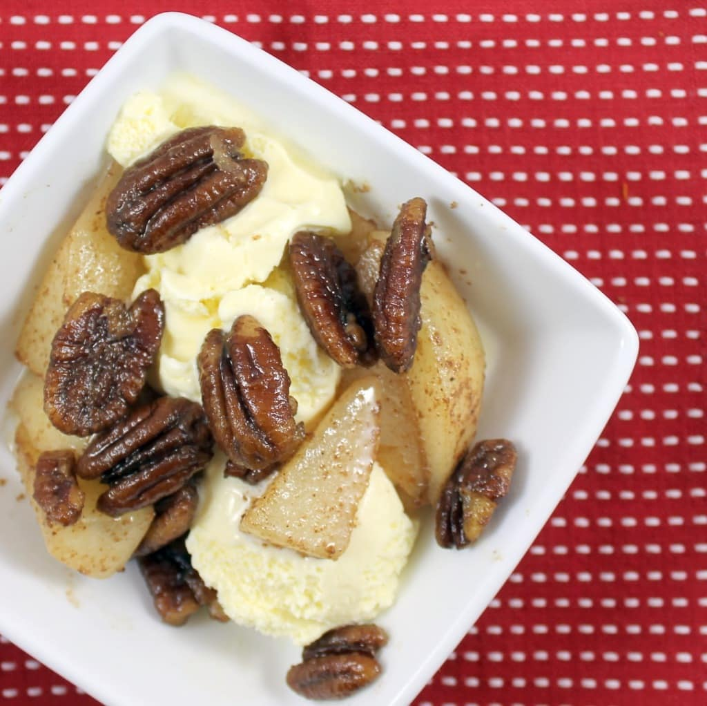 Sauteed Spiced Pears with Pecans Over Ice Cream