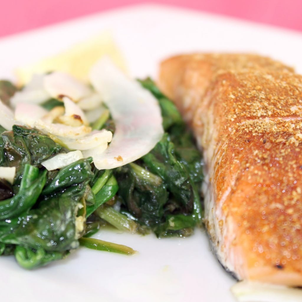 Spice Rubbed Salmon with Lemon-Garlic Spinach