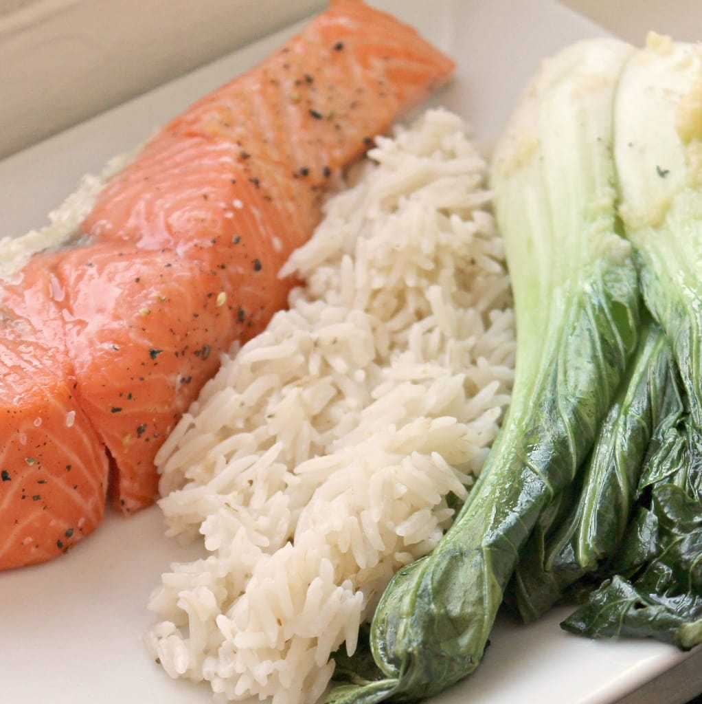 Slow-Roasted Salmon with Baby Bok Choy and Coconut Rice