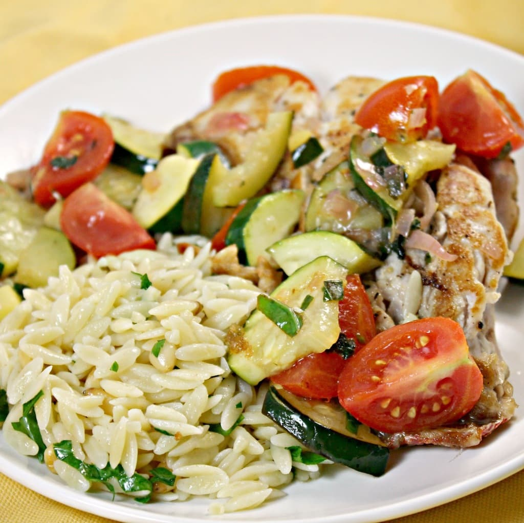 Snapper with Zucchini and Tomato with Parsley Orzo