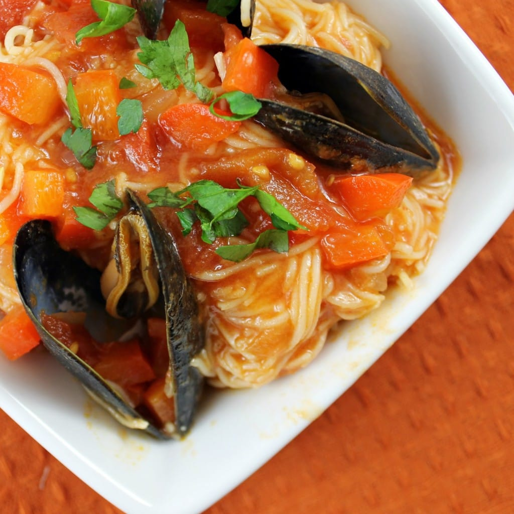 Angel Hair Pasta with Mussels in a Red Pepper Sauce