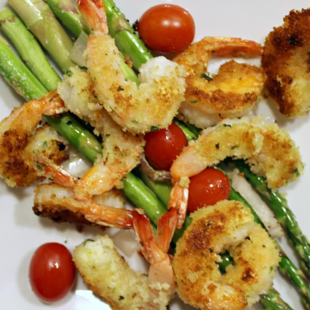 Crispy Herbed Shrimp with Roasted Asparagus and Tomatoes