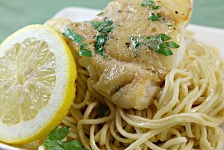 Hake Meuniere over Spaghetti