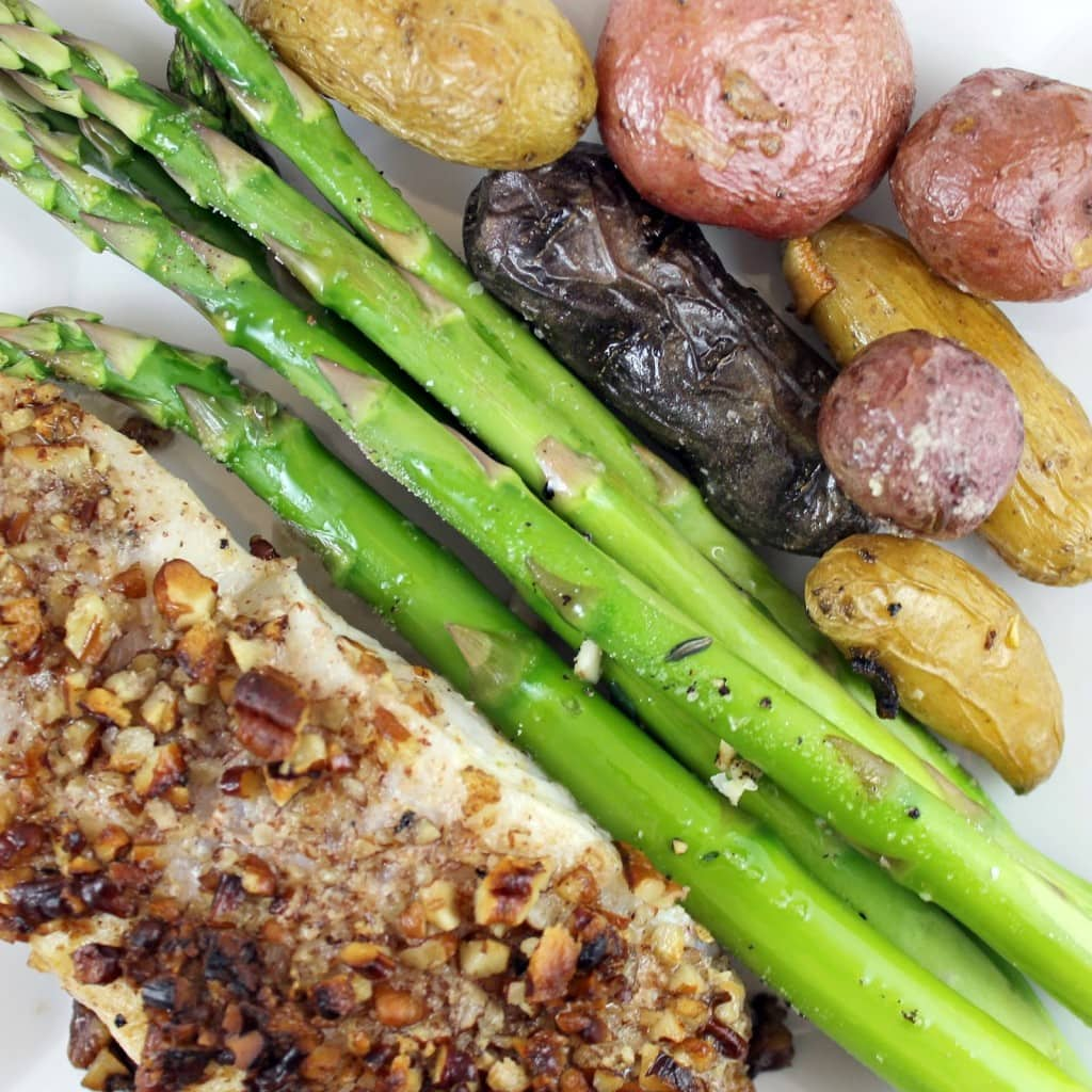 Pecan-Crusted Halibut with Roasted Asparagus and Potatoes