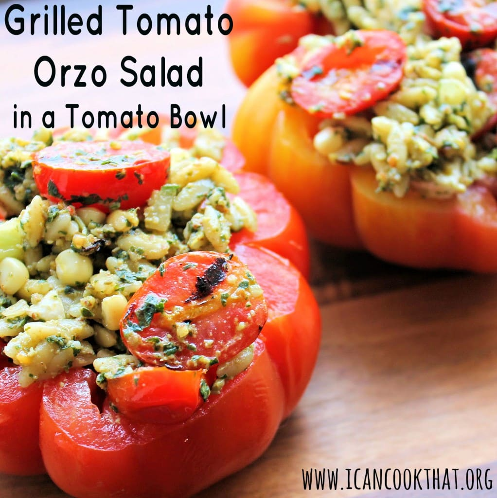 Grilled Tomato Orzo Salad in a Tomato Bowl