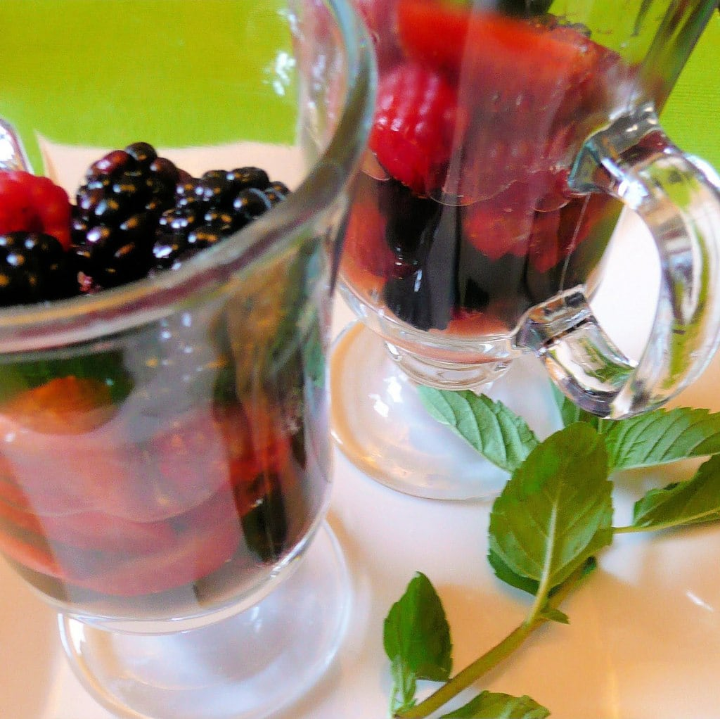 Berries with Lemon Mint Syrup