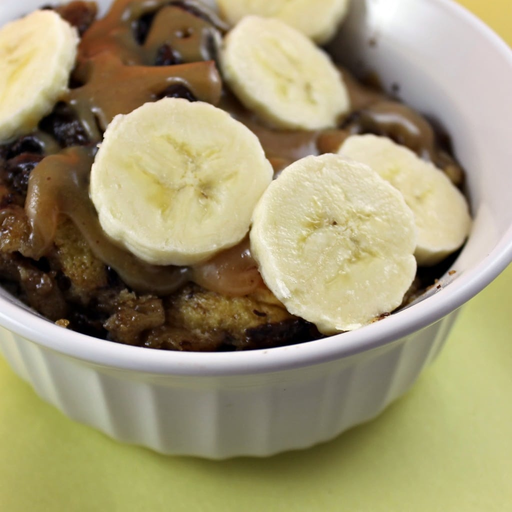 Bread Pudding with Peanut Butter-ROOT Sauce and Sliced Bananas