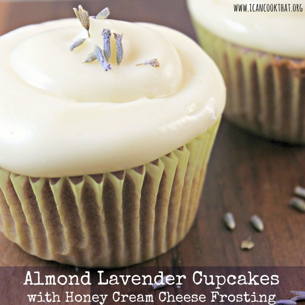 Almond Lavender Cupcakes with Honey Cream Cheese Frosting