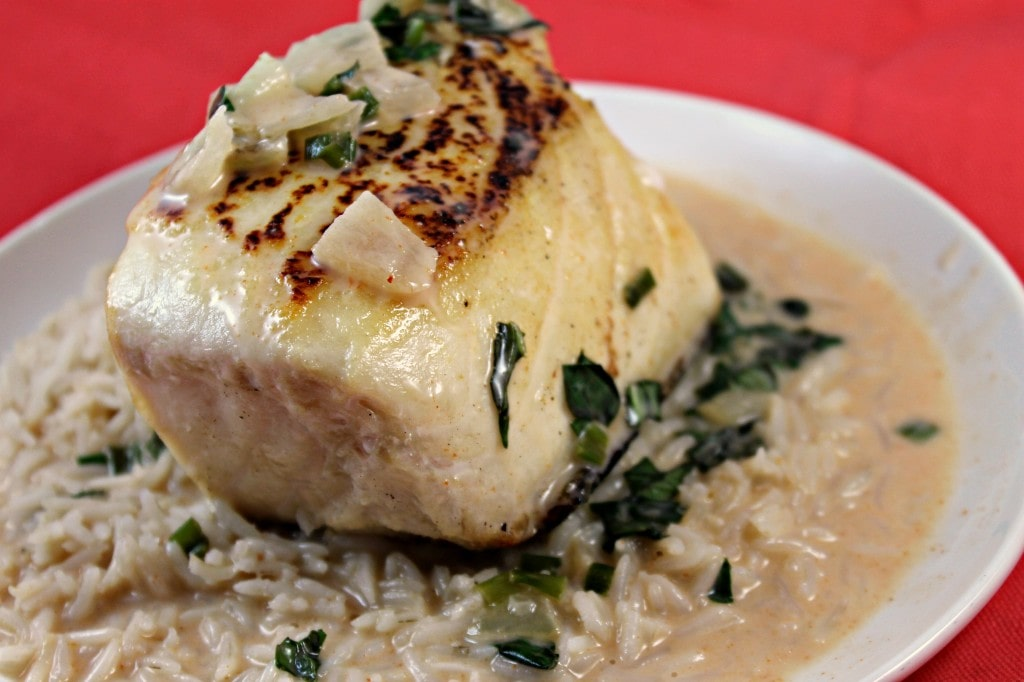 Halibut with Coconut-Red Curry