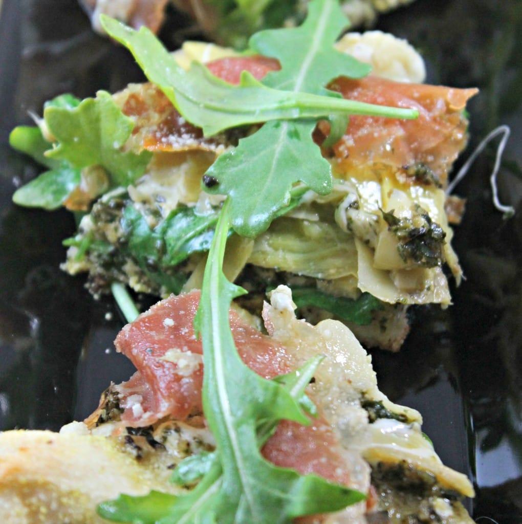 Artichoke and Arugula Pizza with Prosciutto