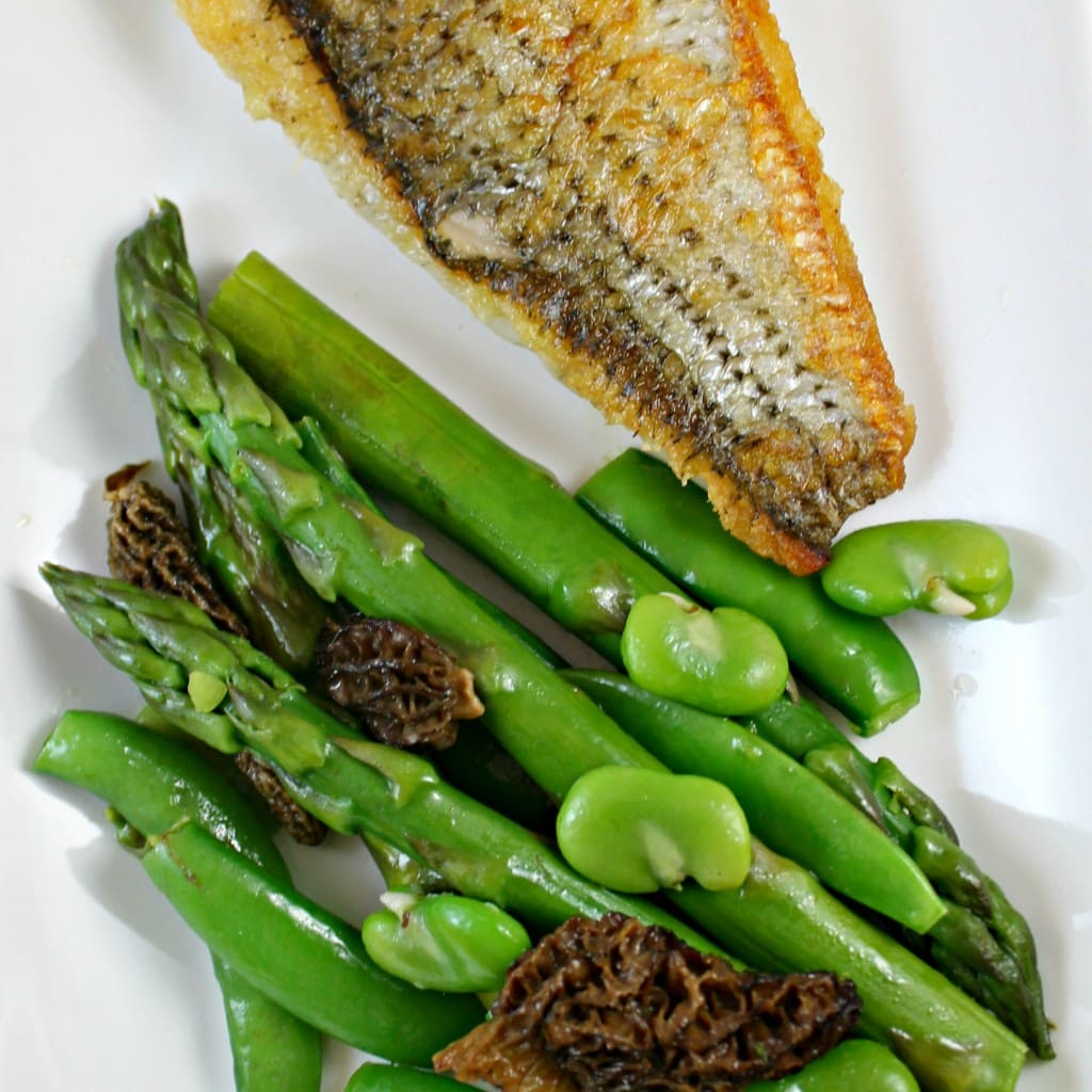 Seared Wild Striped Bass with Sauteed Spring Vegetable