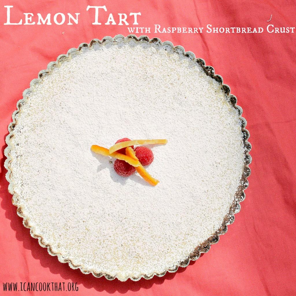 Lemon Tart with Raspberry Shortbread Crust