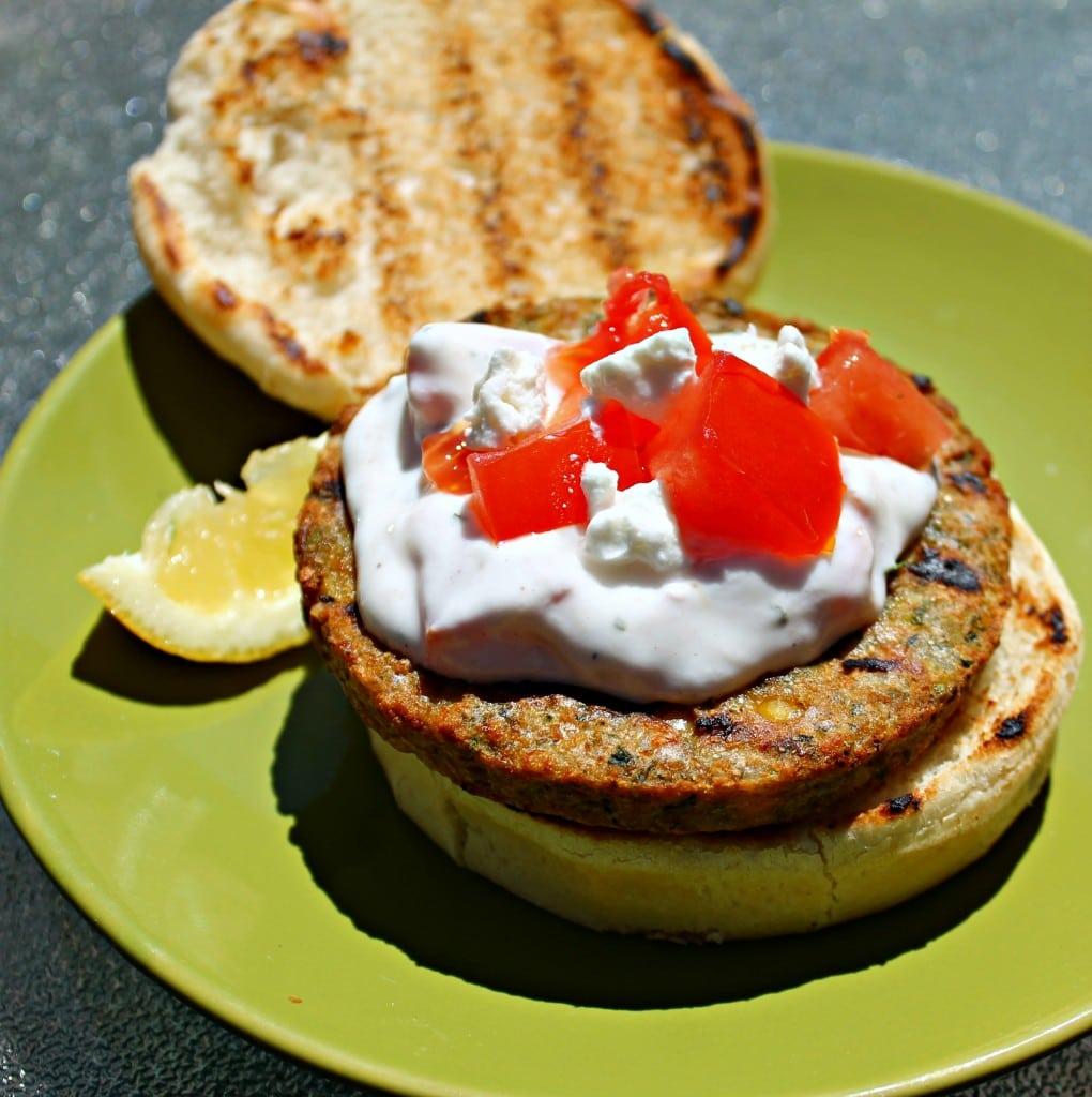 Mediterranean Chickpea Burgers with Ranch Tzatziki