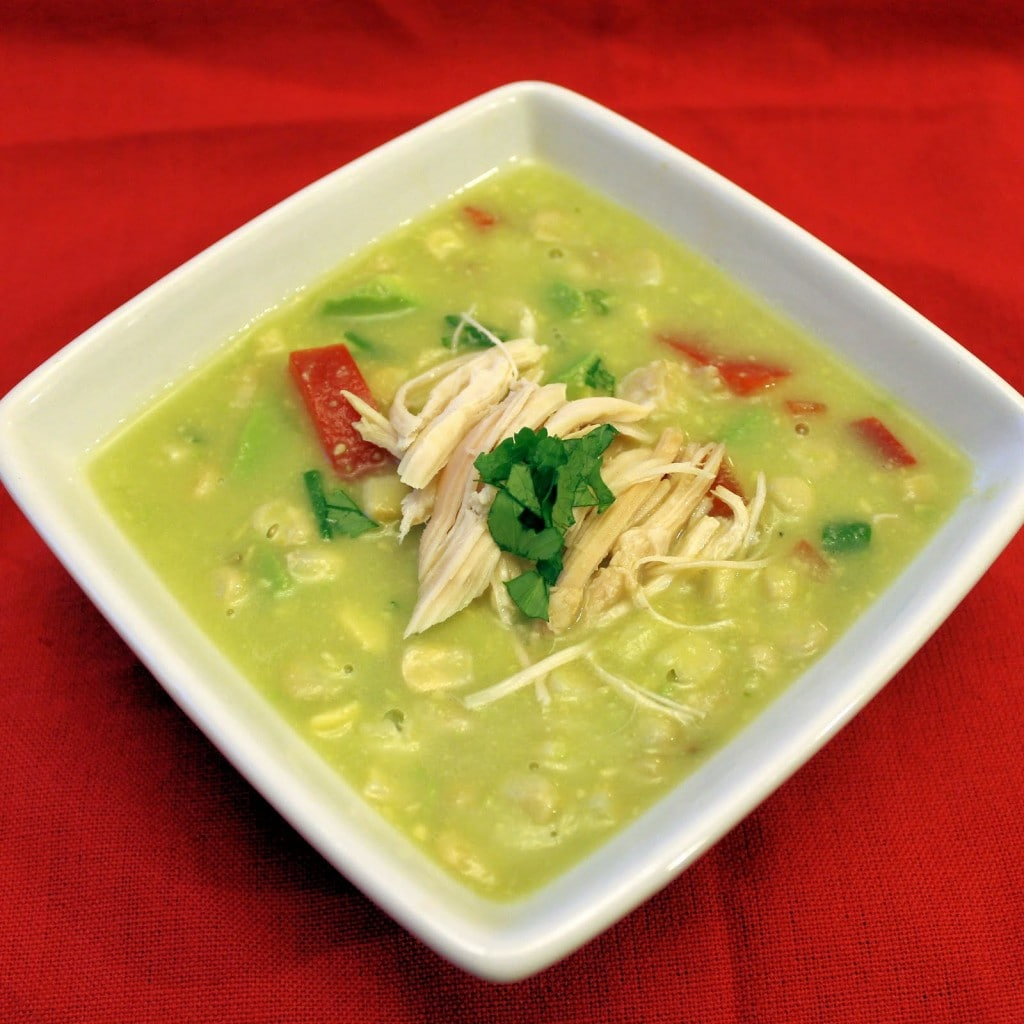 Avocado-Corn Chowder with Rotisserie Chicken. Soup can be made ahead of time but can be made within 20 minutes. Keep toppings separate until serving.