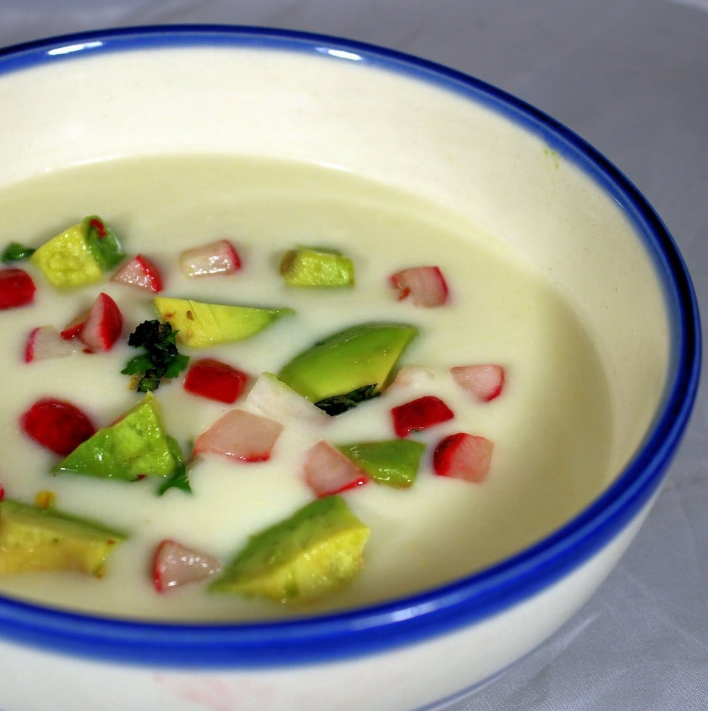 Chilled Corn Soup. Soup can be made ahead of time. Keep toppings separate until ready to serve. (Vegan)