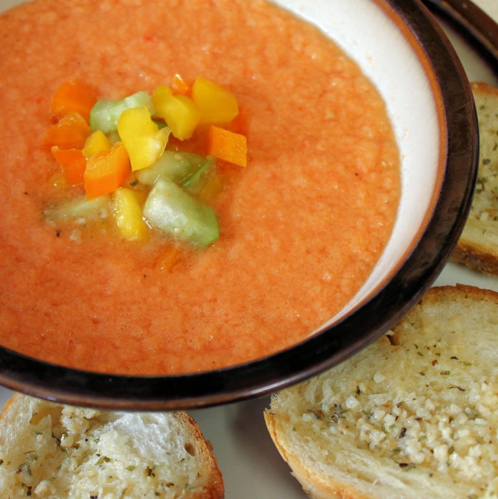 Gazpacho can be made ahead of time. Keep toppings separate until ready to serve. (Vegan)