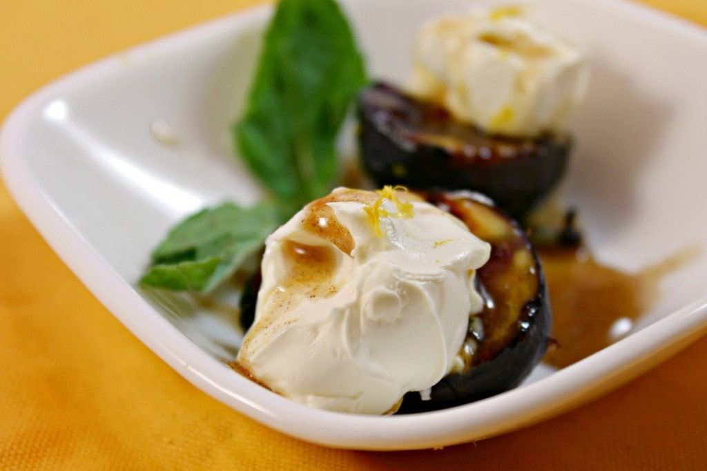 Grilled Mission Figs with Mascarpone and Spiced Honey