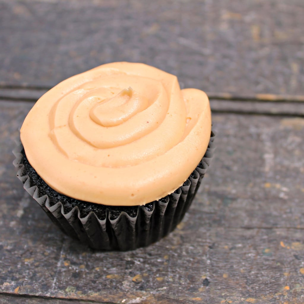 Vegan Dark Chocolate Cupcakes with Peanut Butter Frosting
