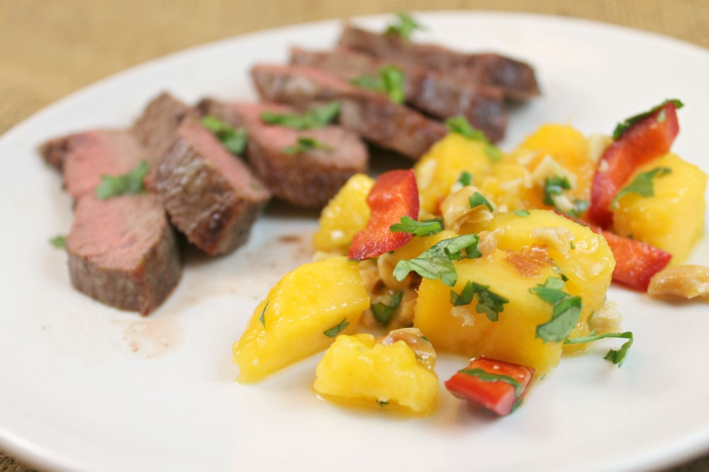 Grilled Sirloin Steak with Mango Chile Salad