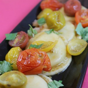 Cheese Ravioli with Roasted Tomatoes