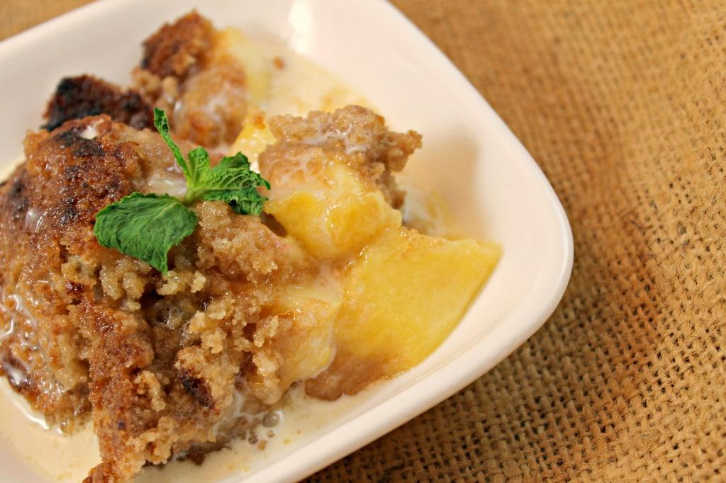 Peach Crisp with Maple Cream Sauce Recipe | I Can Cook That