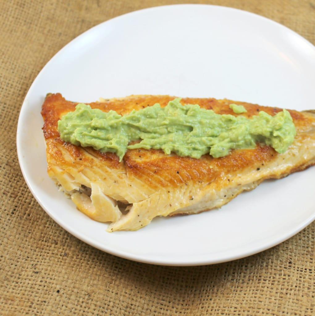 Seared Arctic Char with Avocado-Horseradish Cream