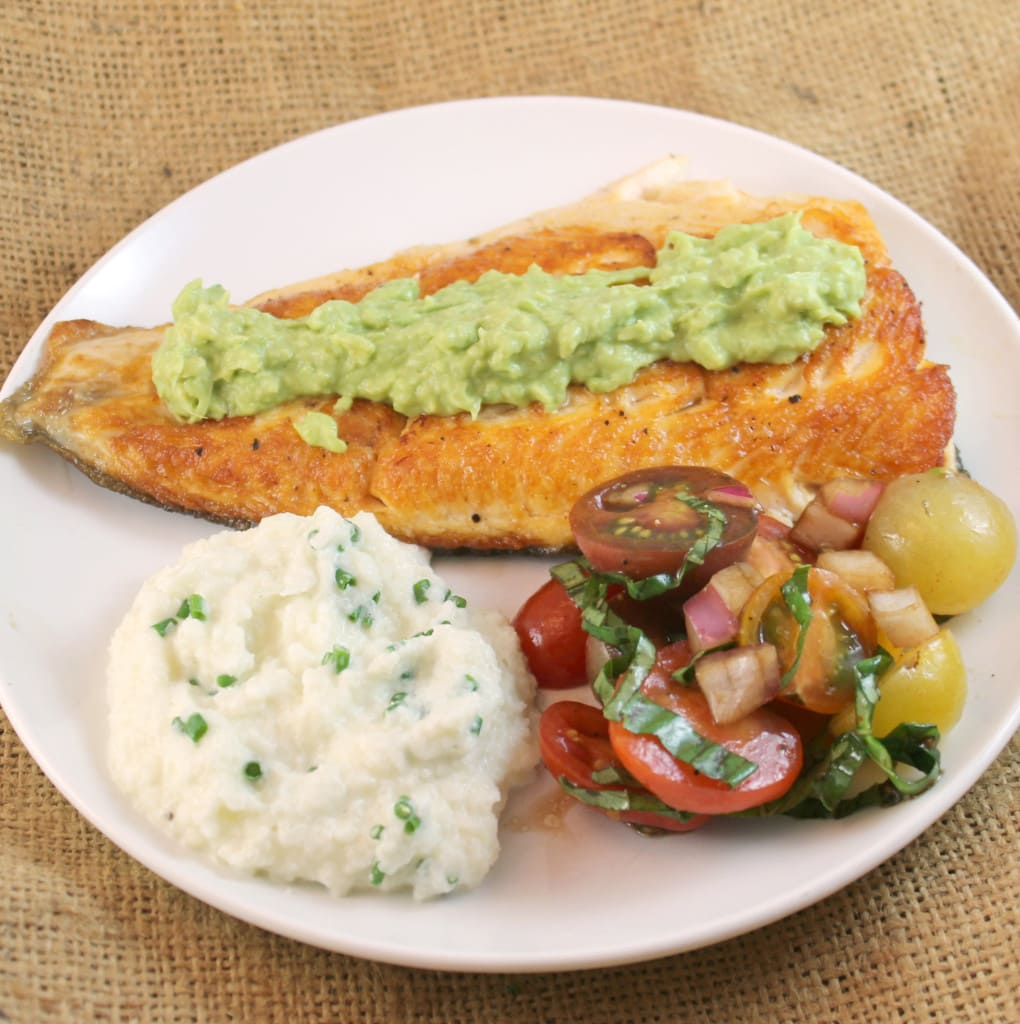 Seared Arctic Char with Avocado-Horseradish Cream, Cherry Tomatoes with Balsamic Vinegar and Basil, and Cauliflower and Chive Puree