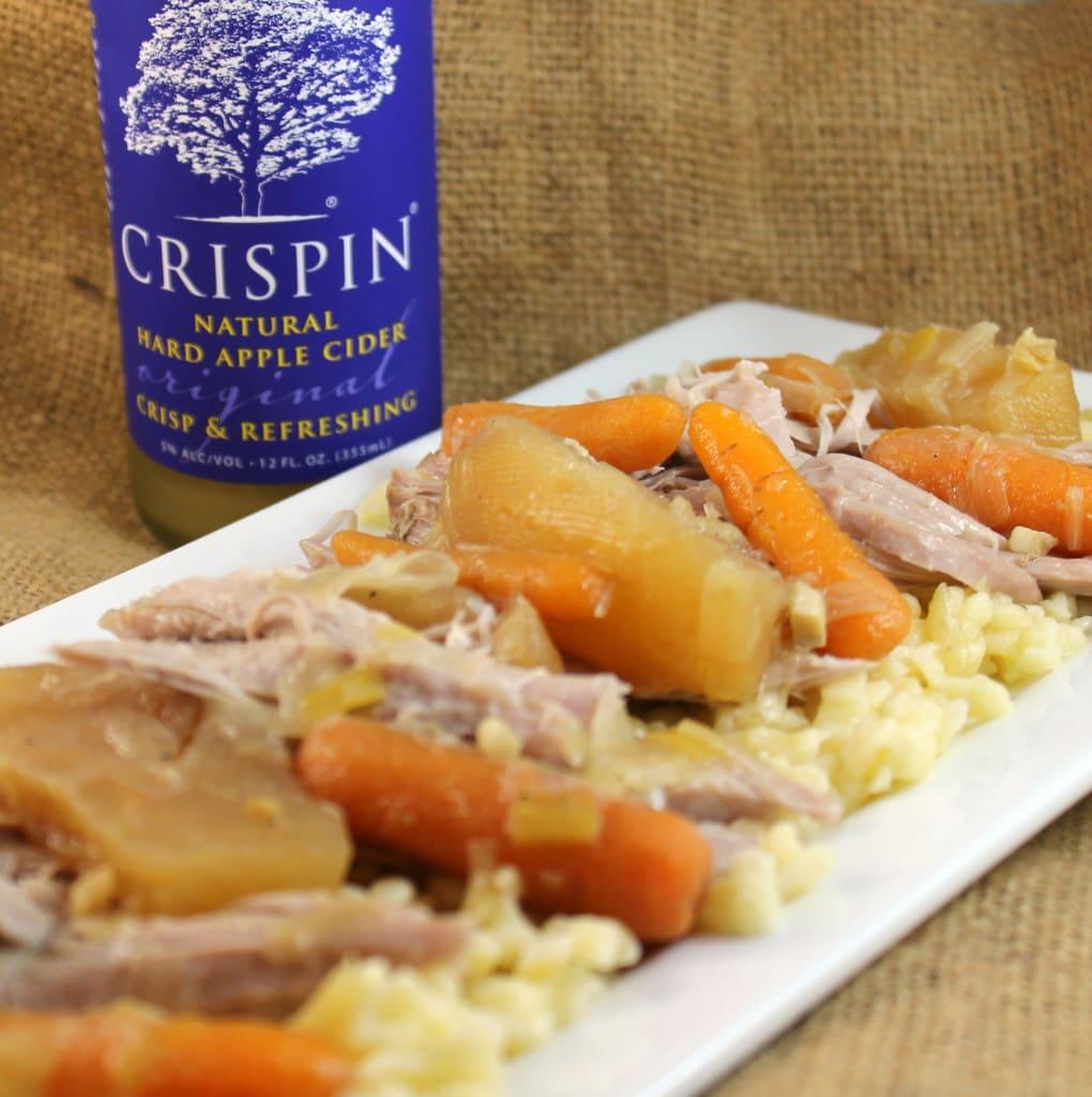 Slow Cooker Pork with Cider Broth over Spaetzle