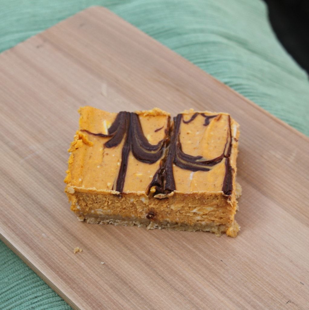 Nutella-Swirled Pumpkin Cheesecake Bars