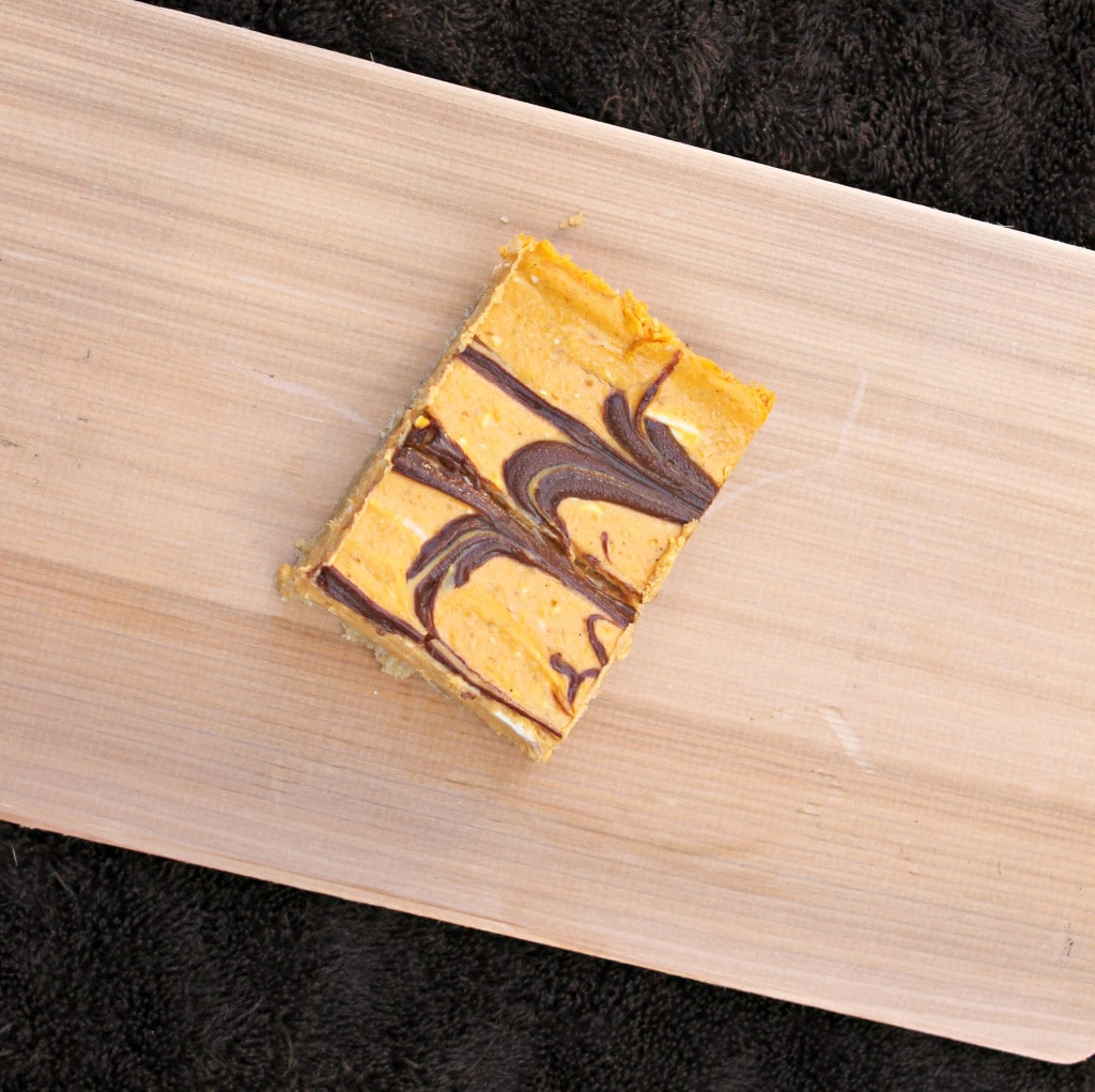 Nutella-Swirled Pumpkin Cheesecake Bars