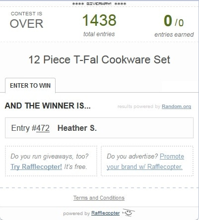 Winner of the Cooking Planit T-Fal 12 Piece Cookware Set Giveaway
