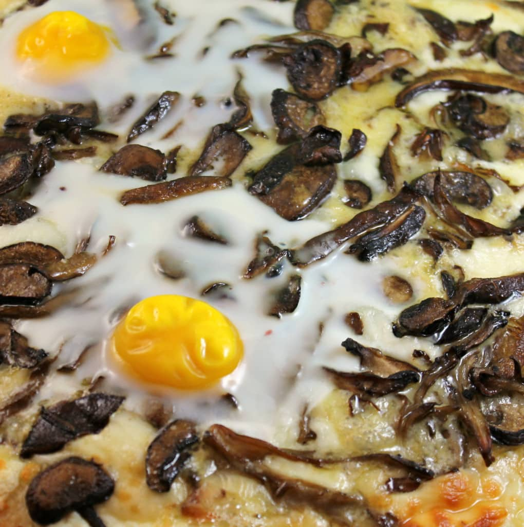 Wild Mushroom Truffled Pizza Topped with Eggs