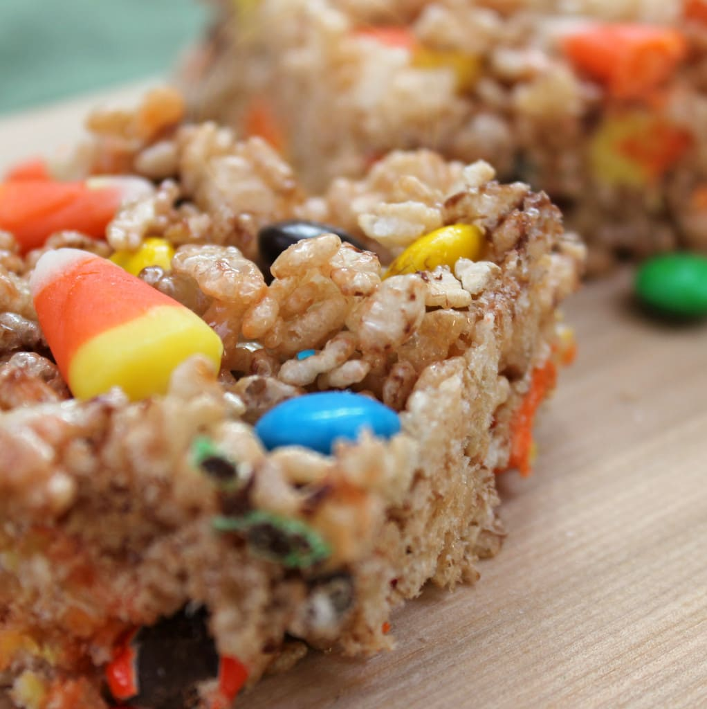 Chewy Crispy Bars with Candy Corn and M&M's