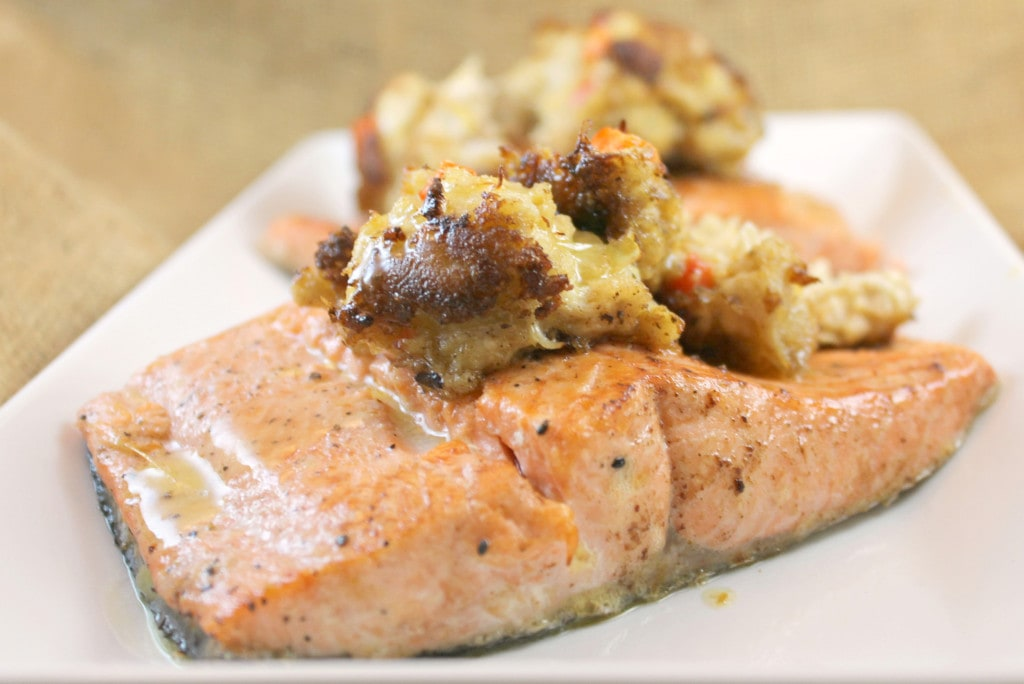 Cedar Plank-Fired Salmon Topped with a Crabcake and Lemon Butter Sauce