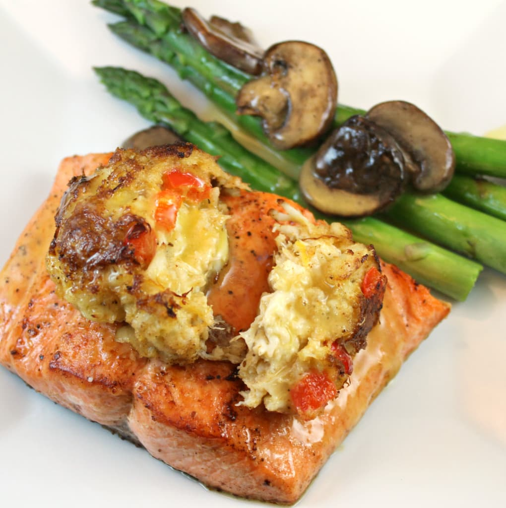 Cedar Plank Fired Salmon Topped with a Crab Cake and Lemon Butter Sauce