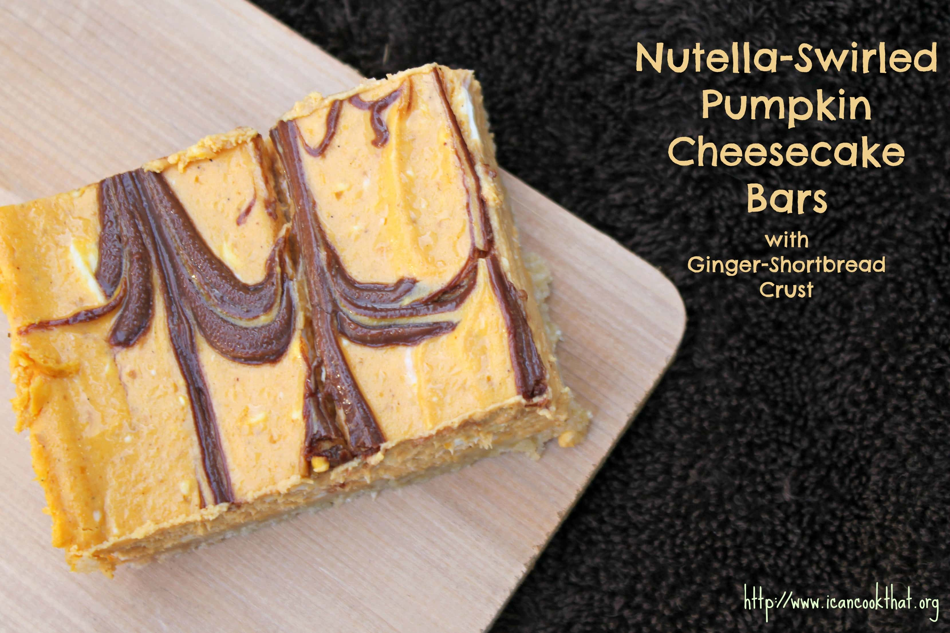Nutella Swirled Pumpkin Cheesecake Bars