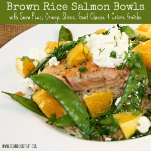 Salmon and Snow Pea Brown Rice Bowls