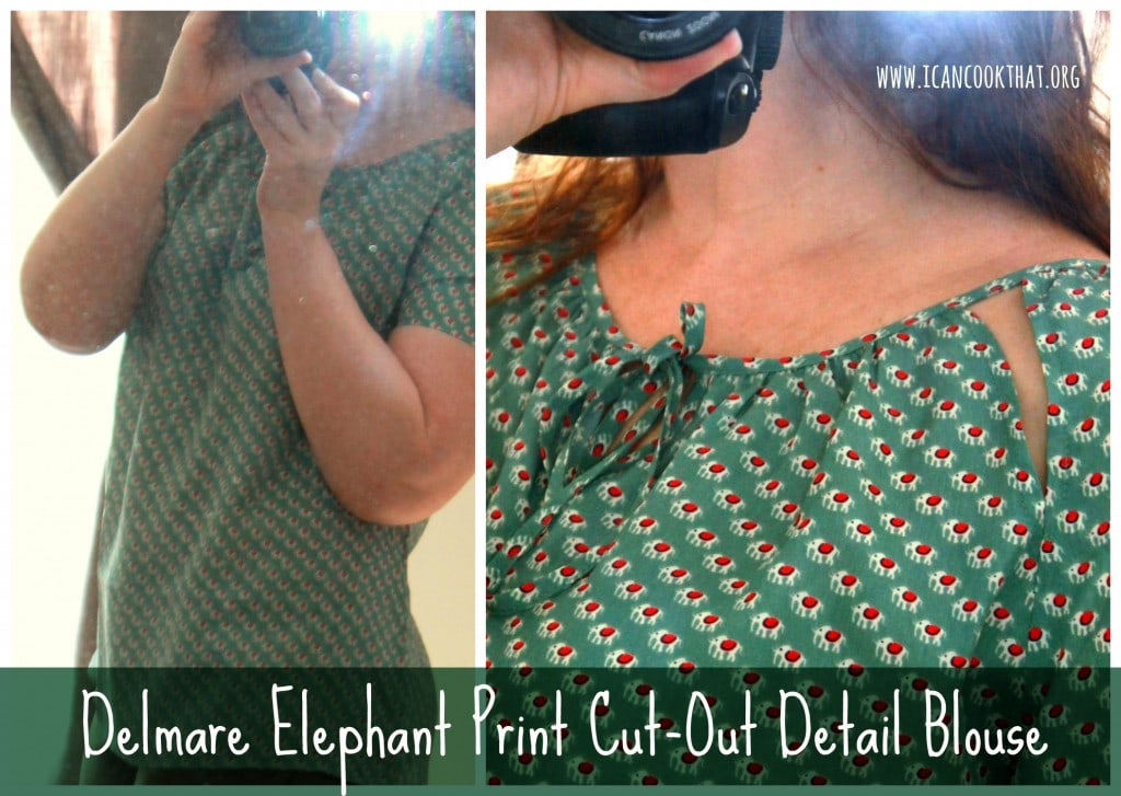 Delmare Elephant Print Cut-Out Detail Blouse