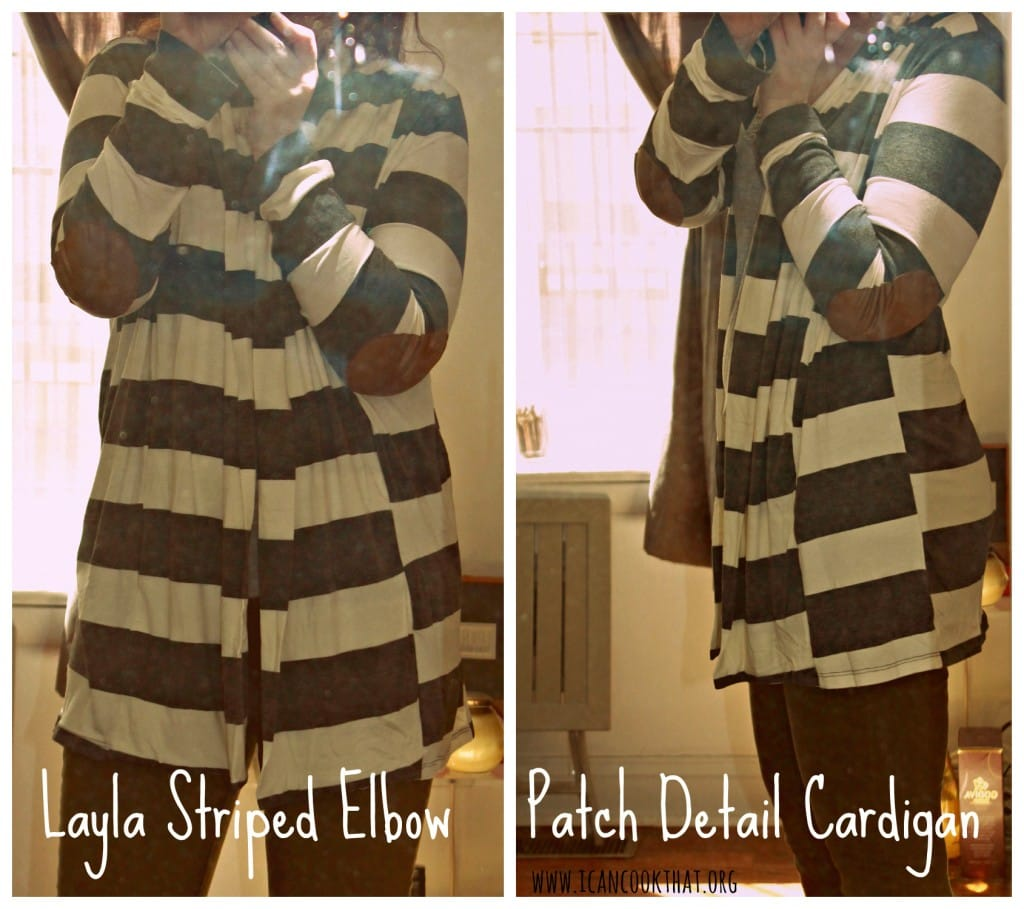 Lalya Striped Elbow Patch Detail Cardigan